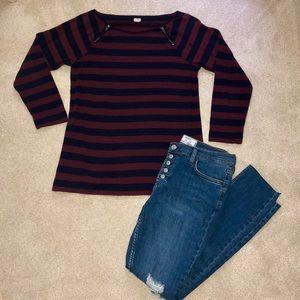 J. Crew striped shirt / quarter sleeved shirt